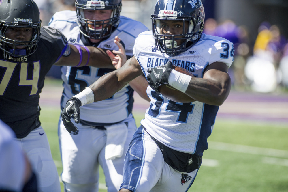 Maine running back Josh Mack runs against James Madison on Sept. 23. Mack leads the nation with an average of 133.5 rushing yards per game.