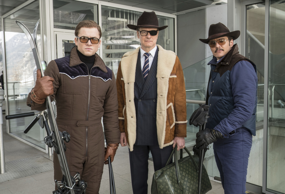 """From left, Taron Egerton, Colin Firth and Pedro Pascal in """"Kingsman: The Golden Circle,"""" an R-rated spy comedy."""