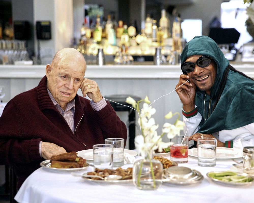 "Don Rickles, the grandmaster of insult comedy who died in April at age 90, listens to music with Snoop Dogg during an episode of the series ""Dinner with Don."""