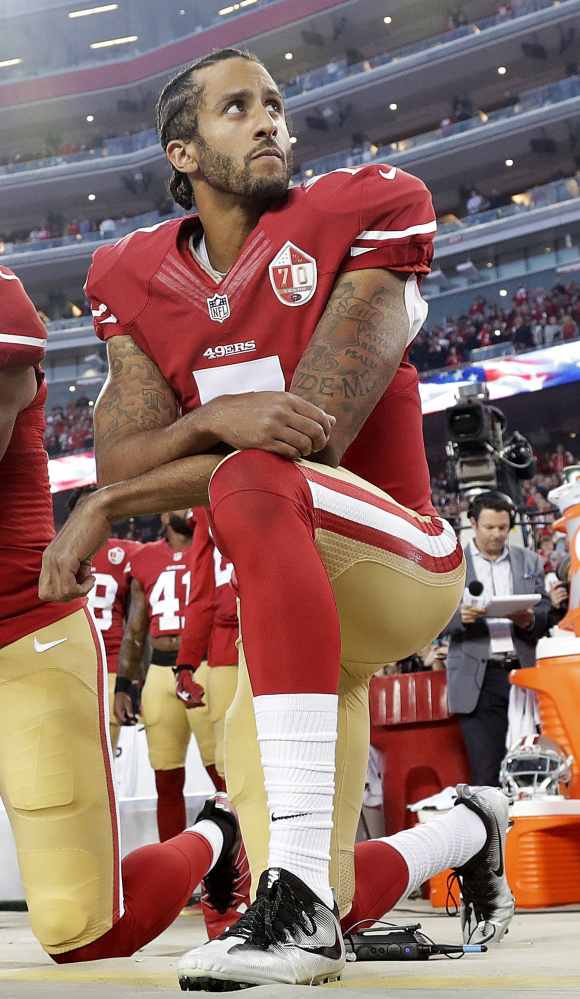 Last September, 49ers QB Colin Kaepernick knelt during the national anthem to protest police brutality against minorities. Players are kneeling now, but for many other reasons.