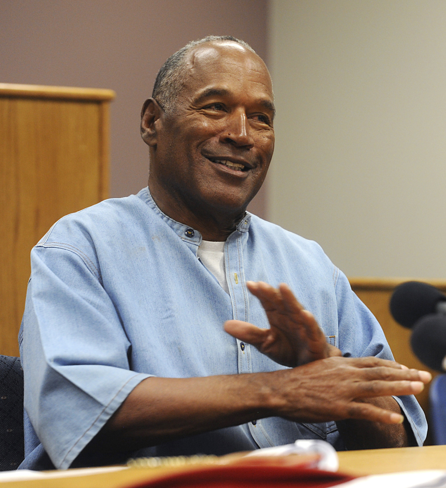 Former pro football star O.J. Simpson attends his parole hearing in July at the Lovelock Correctional Center in Lovelock, Nev.