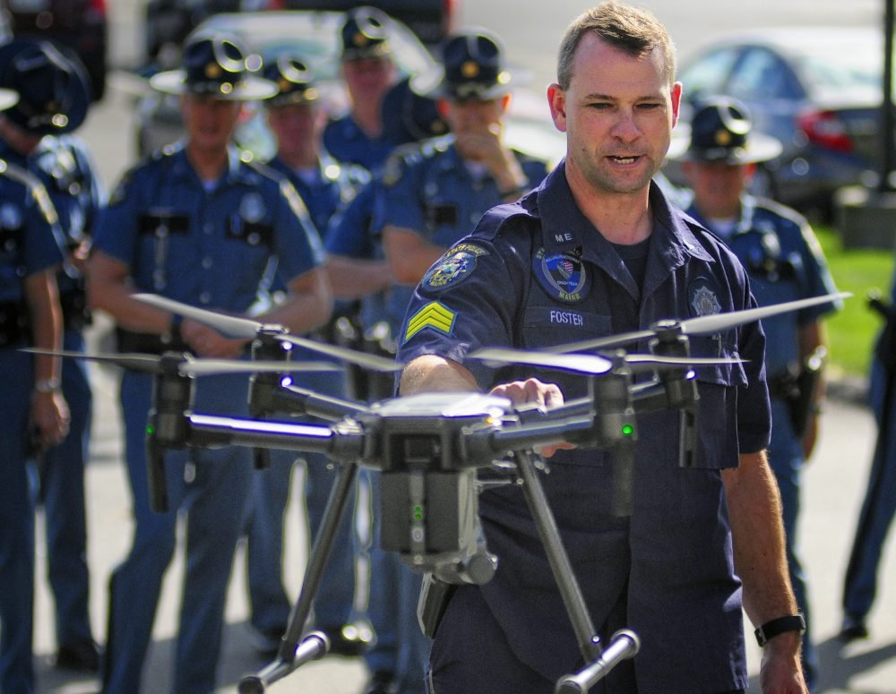 Maine State Police Sgt. Darren Foster talks about the automatic collision avoidance system on a drone Thursday in Augusta.