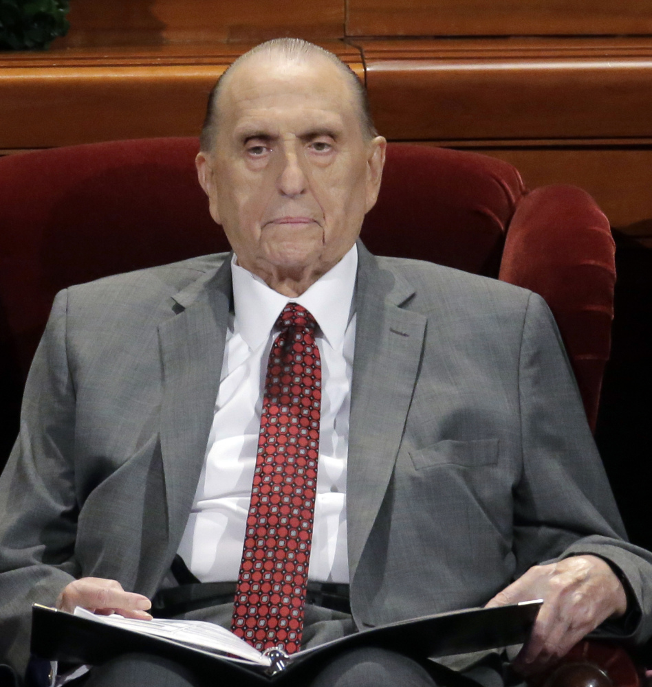 Thomas Monson, president of the Church of Jesus Christ of Latter-day Saints, in April. Mormon church conference in Salt Lake City. Monson won't attend this weekend's church conference in Salt Lake City due to his ailing health--church authorities confirmed Thursday, Sept. 28, 2017, that the 90-year-old Monson will miss the twice-yearly conference and referred to church's May, 2017, statement that Monson is no longer coming to meetings at church offices regularly because of limitations related to his age.(AP Photo