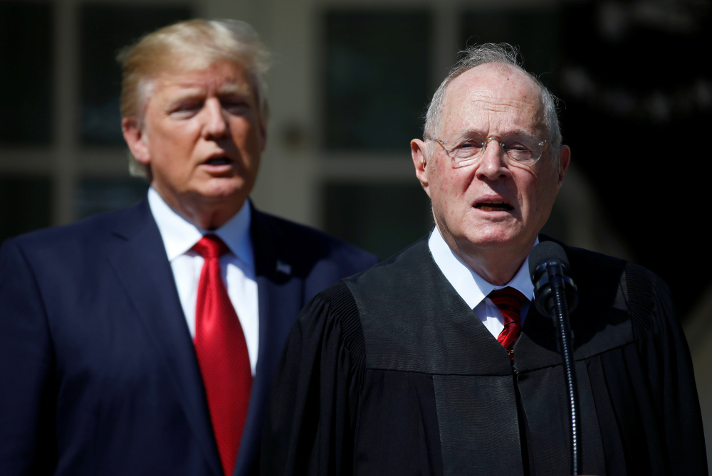 Should Justice Anthony Kennedy, right, retire after this term, President Trump would be able to nominate his replacement, and likely seek a more reliable replacement that would tilt the court majority solidly to the right.