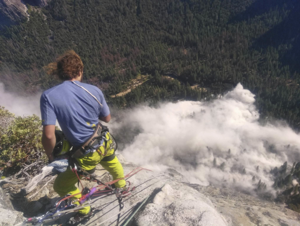 Climber Ryan Sheridan had just reached the top of Yosemite National Park's El Capitan,  a 7,569-foot formation, when a rock slide let loose below him Thursday.