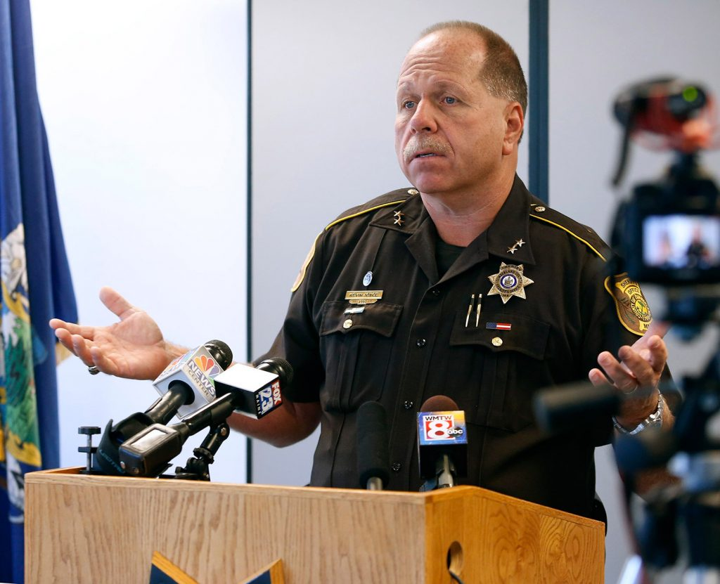Cumberland County Sheriff Kevin Joyce, seen at a news conference in 2015, said this month that the county will no longer cooperate with requests by Immigration and Customs Enforcement to hold immigration detainees at the county jail beyond their scheduled release.