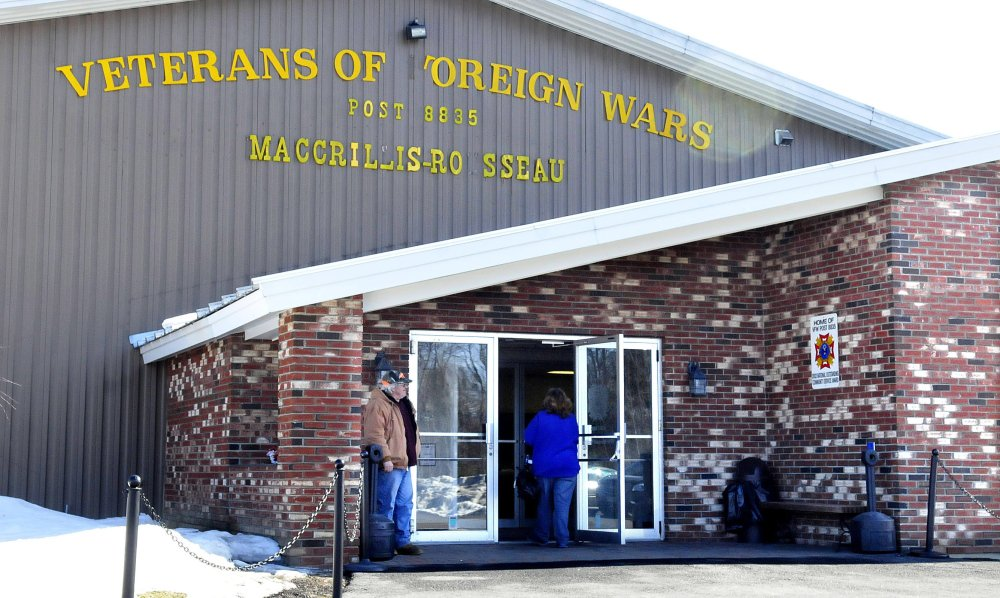 People enter and exit the Winslow VFW hall on March 31, 2015, after former bookkeeper Cara Bird was charged in connection with stealing money from the group. Bird, who was ordered in a civil judgment to pay $7,716 to the VFW, pleaded guilty Wednesday in a separate case to also embezzling $4,389 from the Winslow VFW Auxiliary.