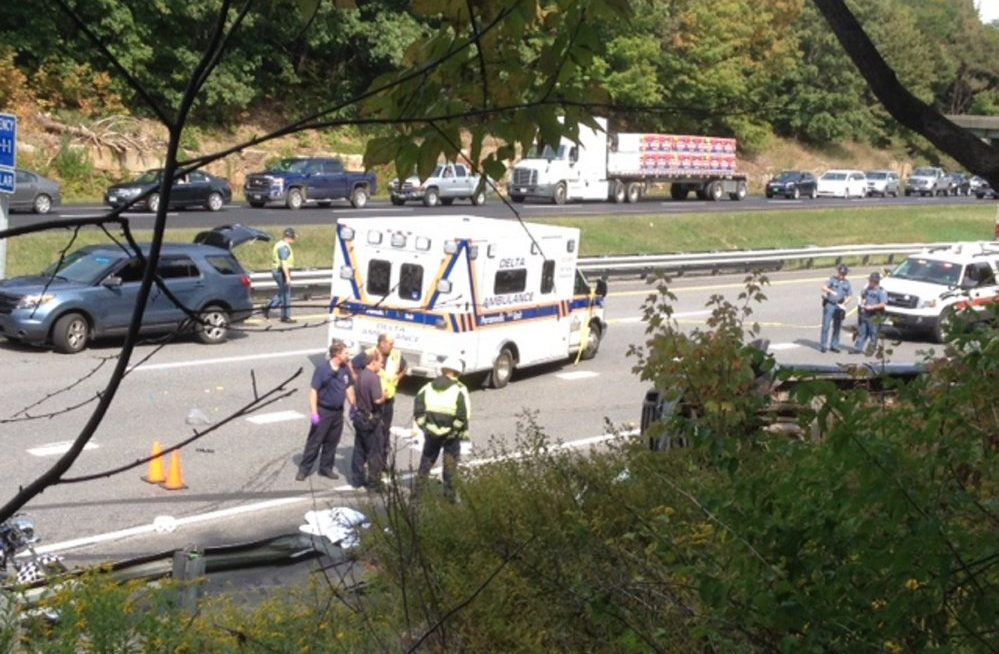 The scene of a motorcycle and truck accident Sunday near Exit 112 on I-95 in Augusta.