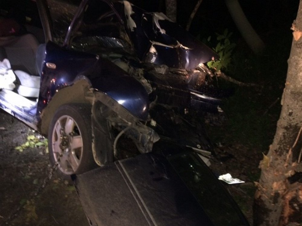 The front end of a 2004 Volkswagen Jetta after it crashed into a tree on Stream Road in Moscow. A 17-year-old girl from Bingham was flown by helicopter to a Bangor hospital with non life-threatening injuries.