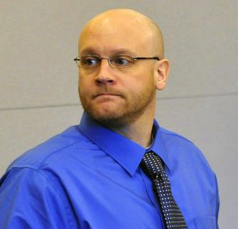 Murder defendant Robert Burton during the first day of his trial in Bangor on Monday for the murder of Stephanie Gebo.