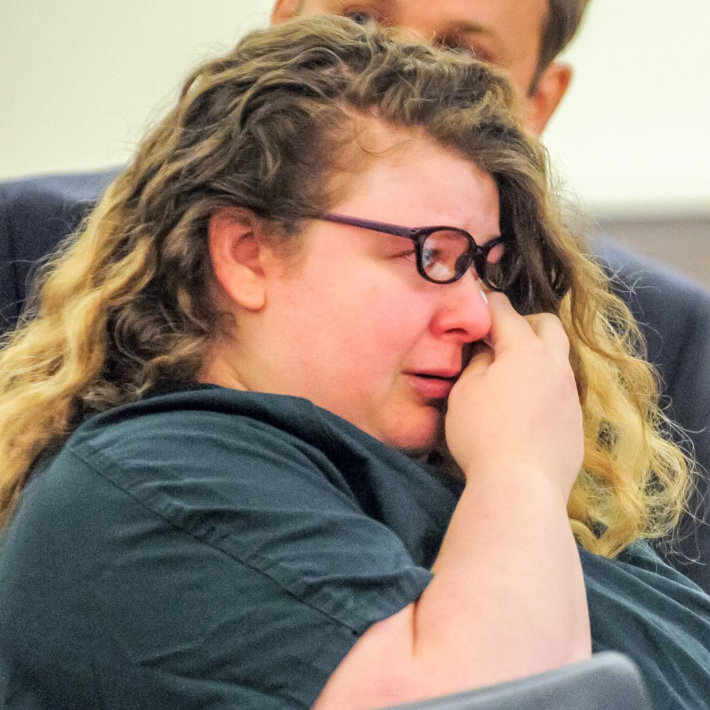 Sarah Conway, 28, wipes away tears in court Wednesday during her sentencing hearing on child sexual assault charges.