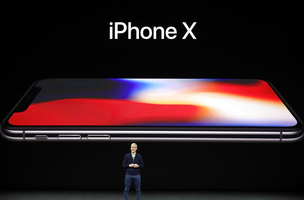 Apple CEO Tim Cook announces the new iPhone X on Tuesday.