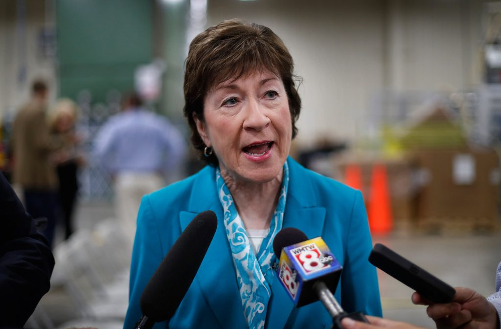 U.S. Sen. Susan Collins, R-Maine, speaks to members of the media while attending an event in Lewiston in August. Collins once again finds herself to be a pivotal vote on Republican efforts to repeal and replace the Affordable Care Act.