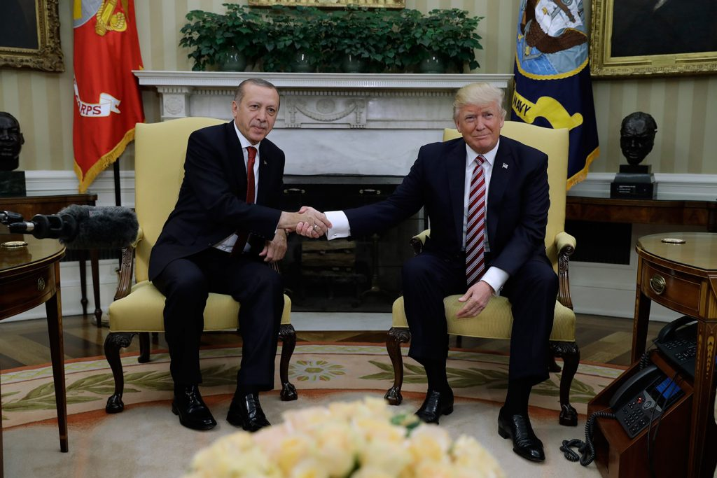 President Trump shakes hands with Turkish President Recep Tayyip Erdogan during their meeting in the Oval Office of the White House in May. In the four months since the violent attack on peaceful protesters by Turkish bodyguards during Erdogan's visit to Washington, nothing has made the Turkish government own up to this outrageous assault on democratic principles on American soil.