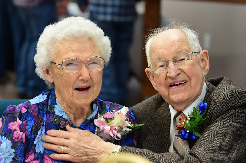 Irma and Harvey Schluter on their 75th wedding anniversary March 12, 2017 in Spokane, Wash.