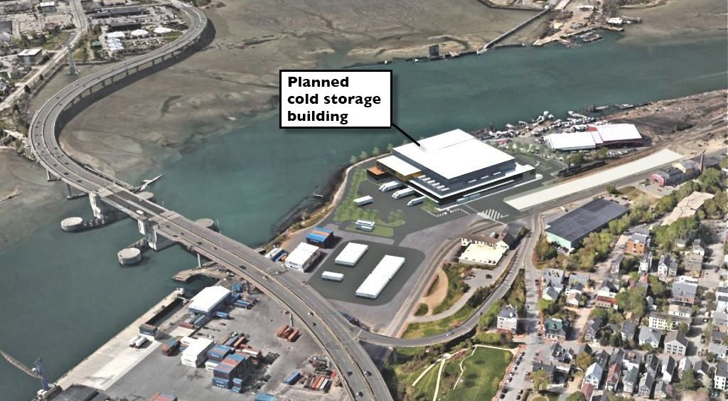 This rendering shows the planned cold-storage facility west of the Casco Bay Bridge.