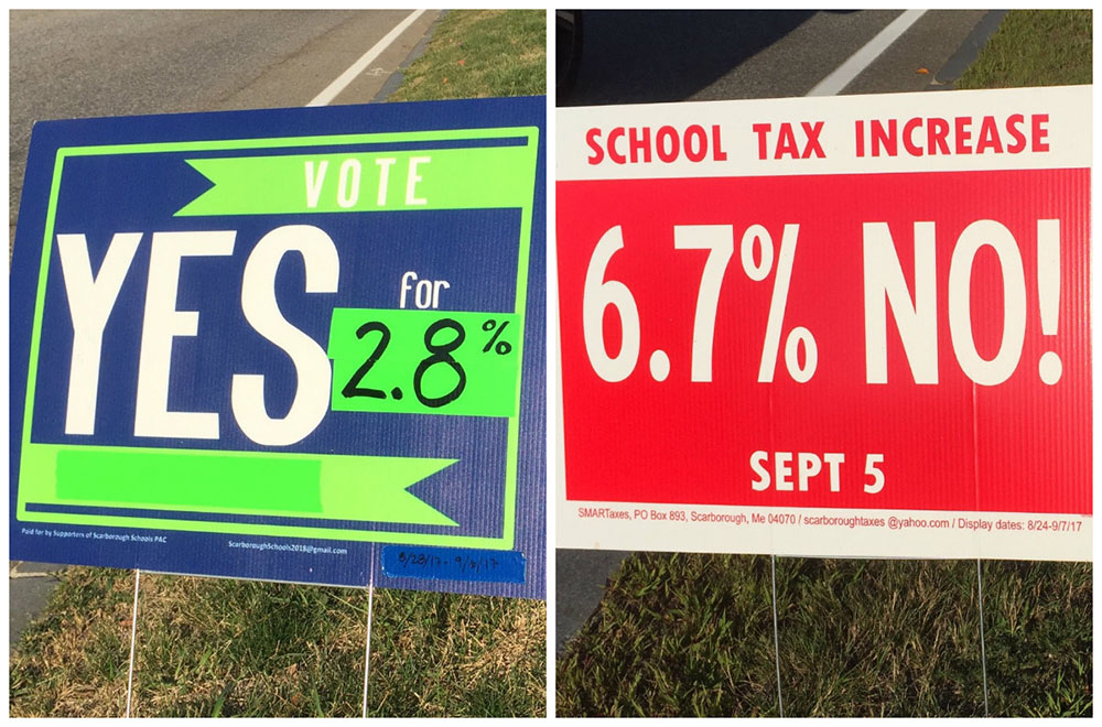 Campaign signs along Route 1 illustrate the deep divide in Scarborough as voters prepare to go to the polls for the third time on the 2017-18 school budget.