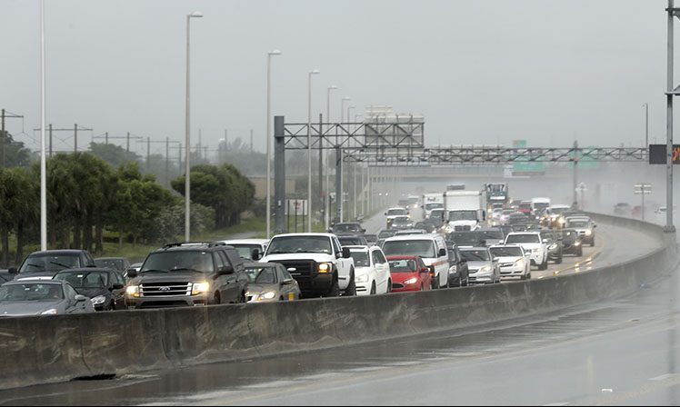 Northbound traffic is backed up on Thursday in Sunrise, Fla.
