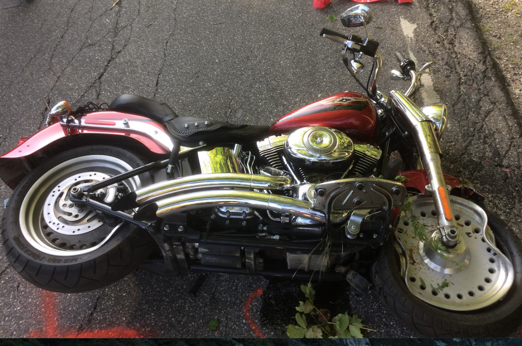 Officials shut down Route 109 in Action after this motorcycle left the road and hit a tree. Its rider, a N.H. man, was taken to the hospital.