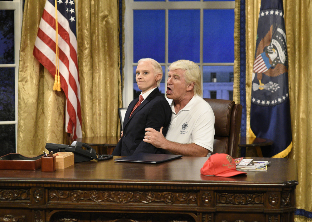 "Kate McKinnon portrays Attorney General Jeff Sessions, left, and Alec Baldwin portrays President Trump during the cold open for season kickoff of ""Saturday Night Live."""