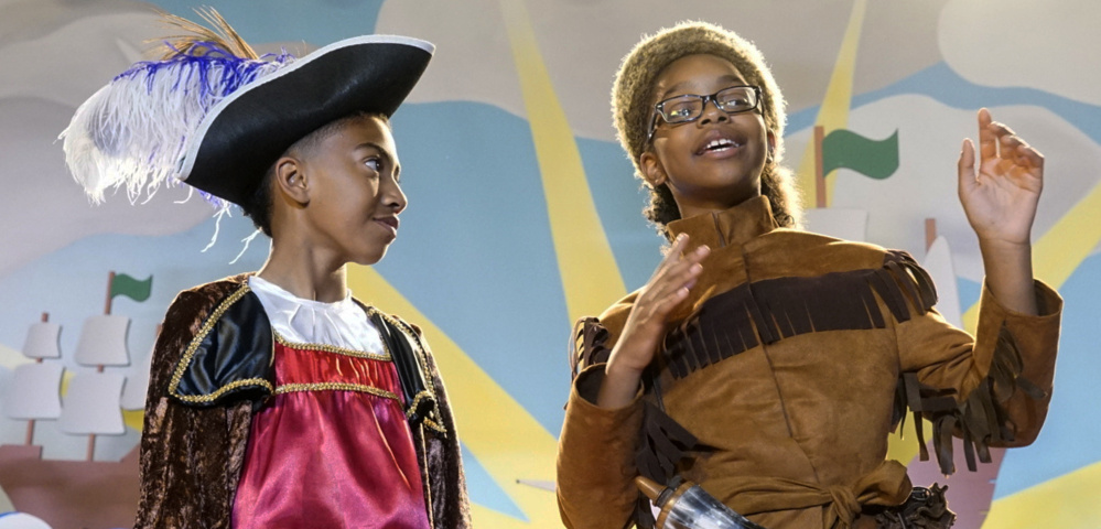"This image released by ABC shows Miles Brown, left, and Marsai Martin in a scene from the season four premiere episode of ""black-ish,"" airing at 9 p.m. Tuesday."