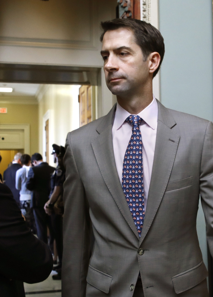 Sen. Tom Cotton, R-Ark., says talk of a Trump-Democrats deal on immigration is 'spin.'