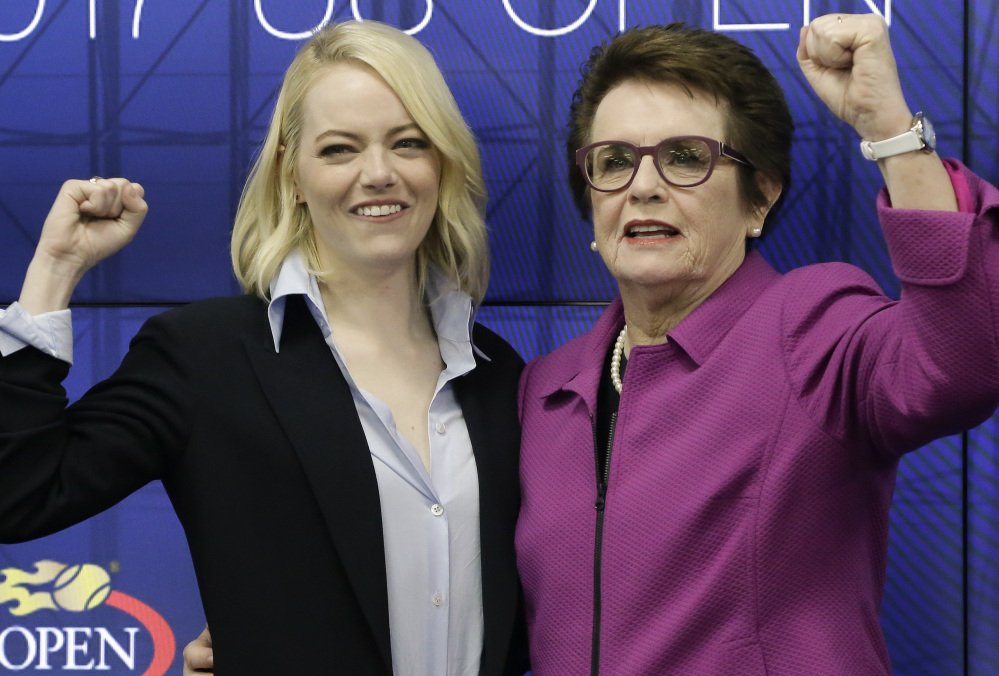 "Actress Emma Stone and Billie Jean King pose for photos promoting the upcoming film ""Battle of the Sexes."" The film opened nationwide on Friday."
