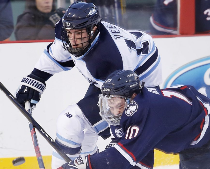 The University of Maine will be counting on Nolan Vesey, rear, the team's top returning scorer, among others as it takes on Connecticut in a two-game series at Orono to open the regular season this weekend.