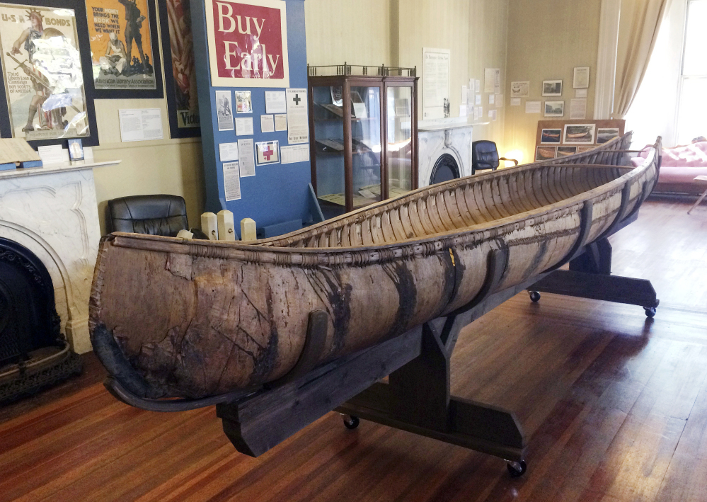 One of the oldest-known Native American birch-bark canoes, dated from the mid-1700s, is displayed at the Pejepscot Museum & Research Center in Brunswick. It spent three decades in a barn before being placed in the museum.