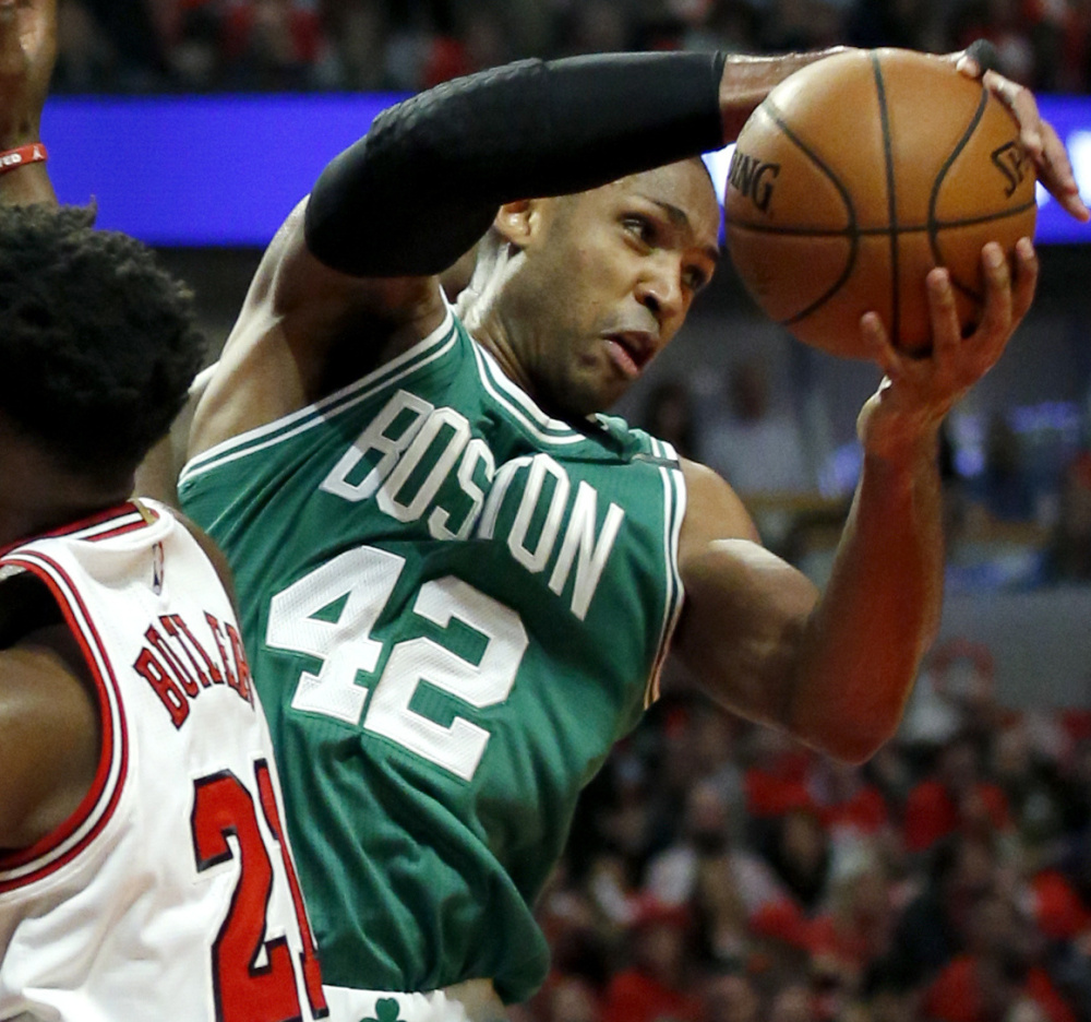 Al Horford was the Celtics' leading rebound last season, his first with the team, pulling down 6.8 per game.