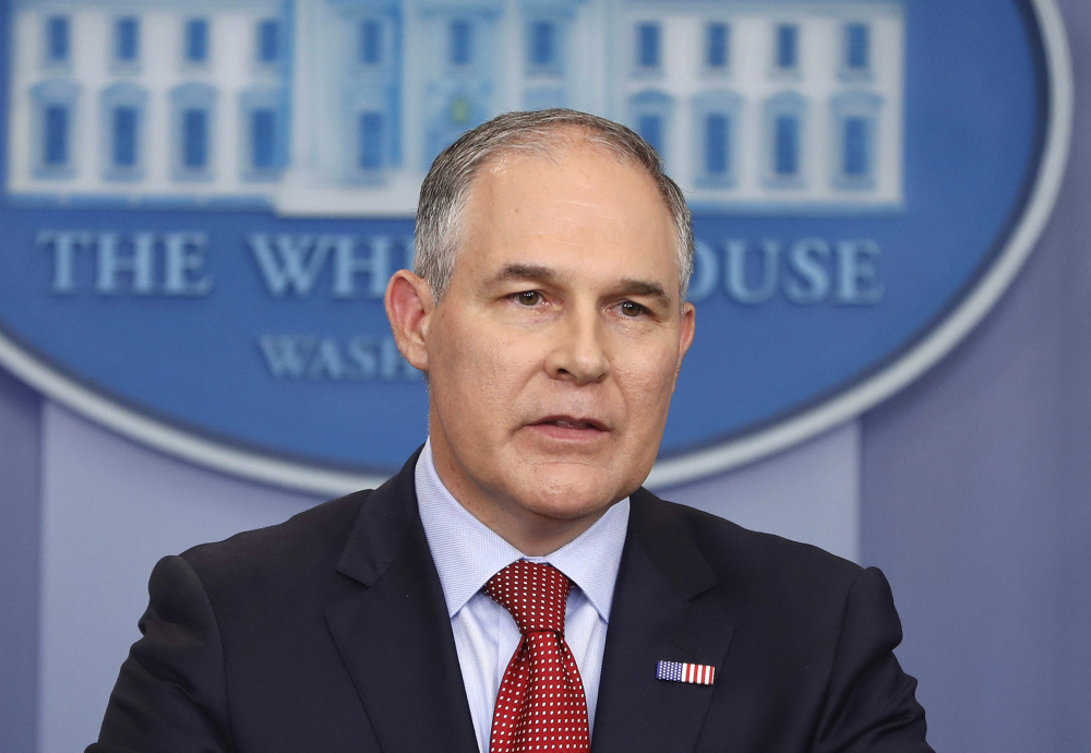 "EPA Administrator Scott Pruitt speaks in the Brady Press Briefing Room of the White House in Washington. Speaking in Kentucky on Monday, Pruitt said he will sign a proposed rule on Tuesday ""to withdraw the so-called clean power plan of the past administration."""