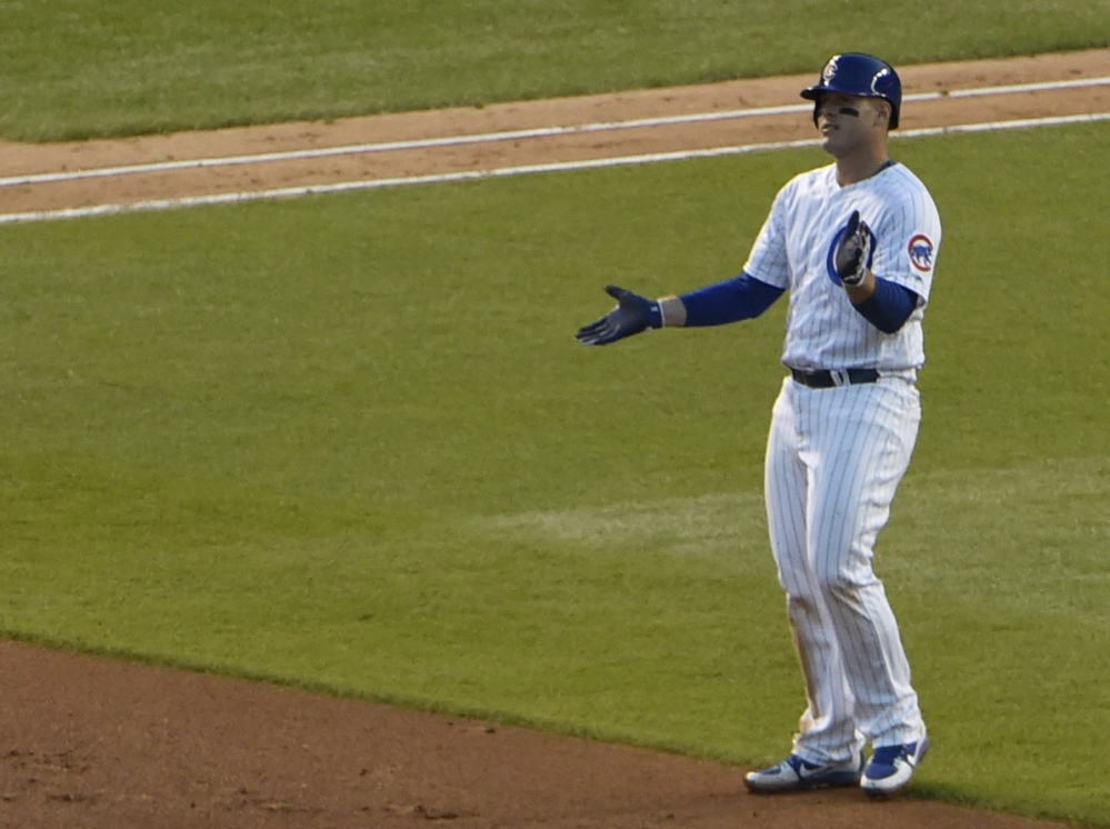 The Cubs' Anthony Rizzo celebrates his eighth-inning RBI single, which turned out to be the game winner.