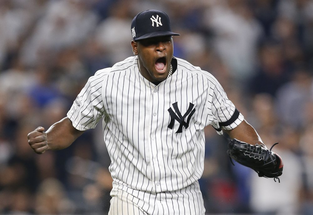 Yankees starter Luis Severino celebrates in the seventh inning of Monday night's American League Division Series game against Cleveland. Severino left with the lead, holding the Indians to three runs in seven innings.