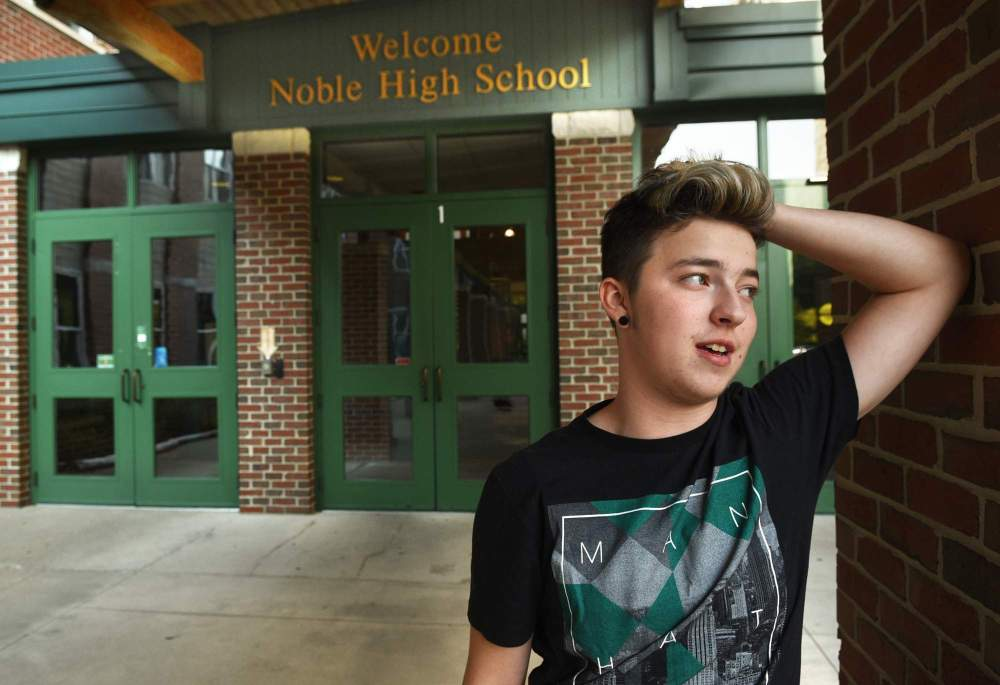 Stiles Zuschlag stands outside Noble High School in North Berwick.