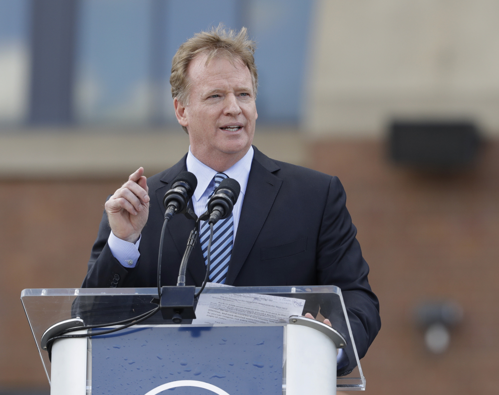 NFL Commissioner Roger Goodell says the NFL respects players' right to express their opinions but believes they should stand for the national anthem.