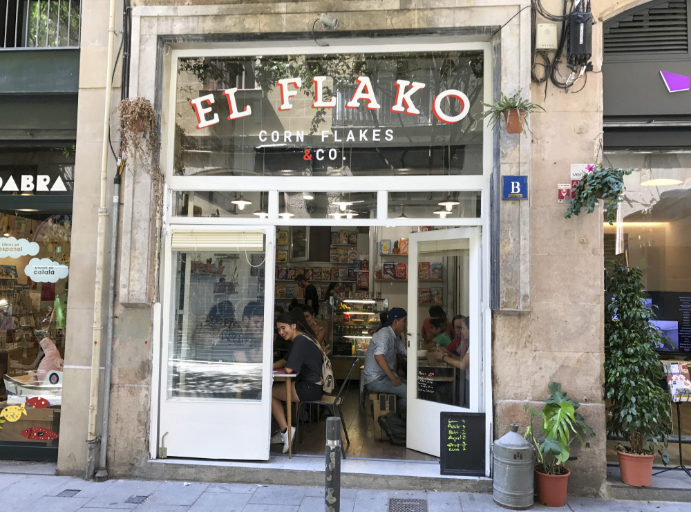 """The El Flako cafe in Barcelona, Spain, is among those serving American breakfast cereal, as young entrepreneurs tap into nostalgia and novelty. """"We have a concept of going back to the roots, returning to being a kid, back to the origins,"""" Nicolas Castan, 29, says."""