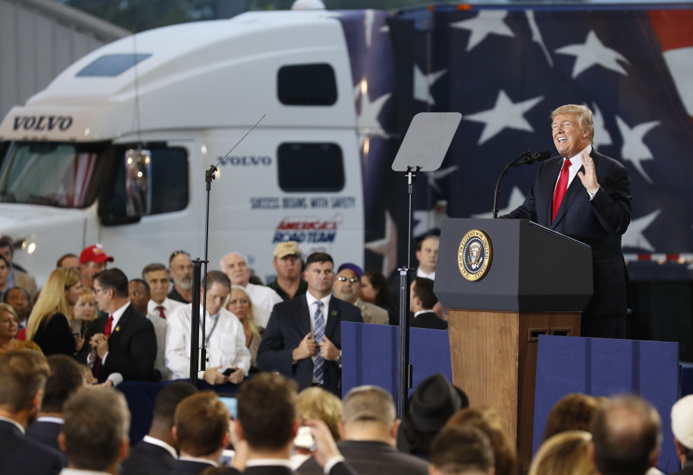 President Trump talks up his tax reform plan at the Harrisburg International Airport on Wednesday in Middletown, Pa.