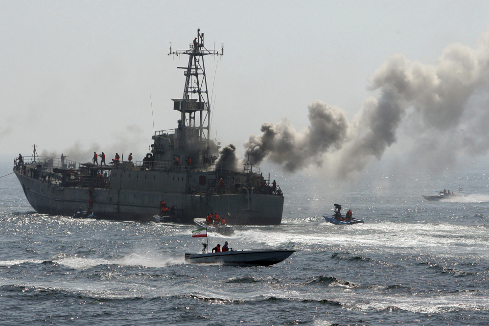 The Revolutionary Guard's troops attack and take over a warship being used as a target during a maneuver in the Persian Gulf, Iran, in 2010. Iran's paramilitary Revolutionary Guard faces new sanctions from the United States, President Trump says.