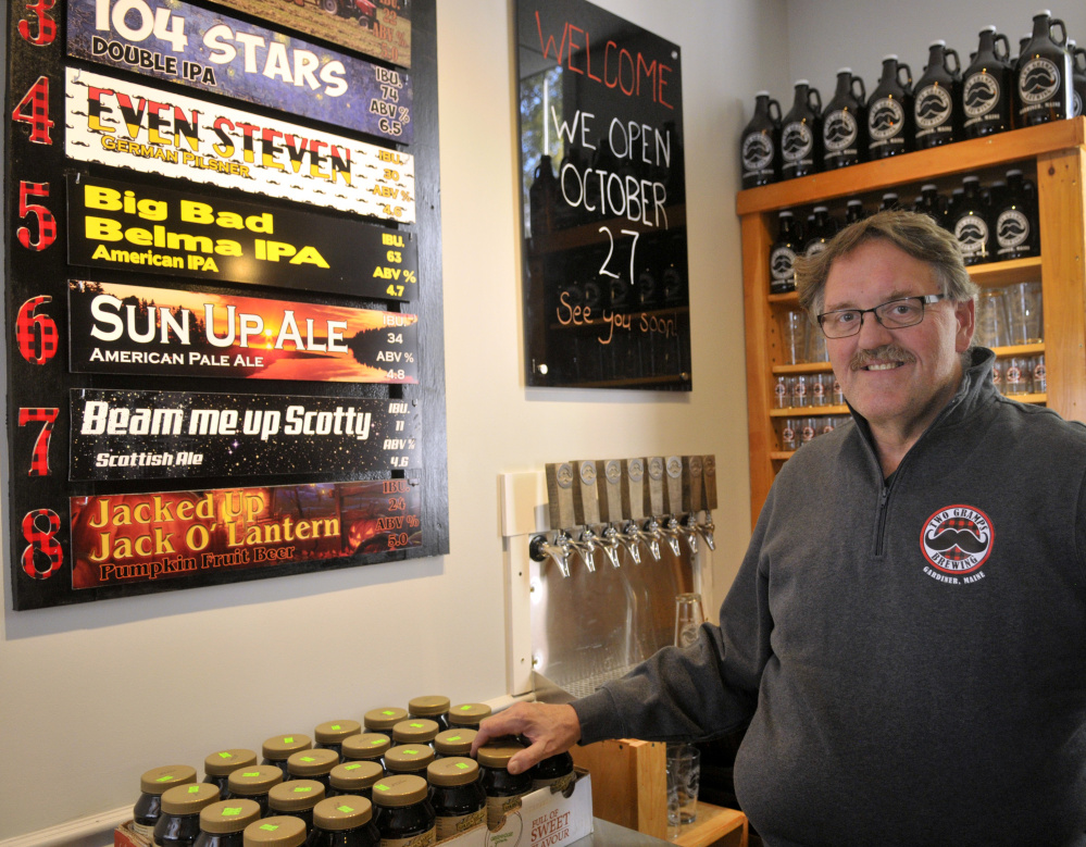 Joe Gould poses for a portrait Thursday at Two Gramps Brewing in Gardiner. The brew pub on Water Street is expected to open later later this month.