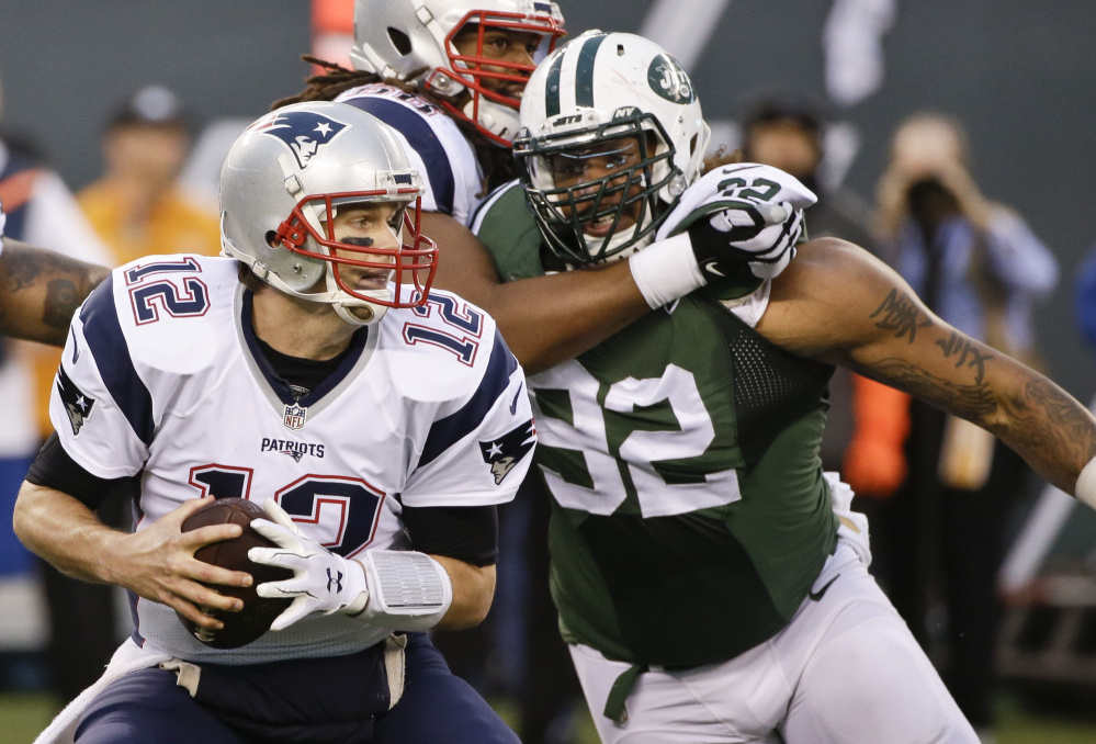 Defensive lineman Leonard Williams, right, and the Jets defense are confident they can get to New England Patriots quarterback Tom Brady in Sunday's game. And it might happen. Brady has been sacked 16 times through five games after going down just 15 times in 12 games a season ago.