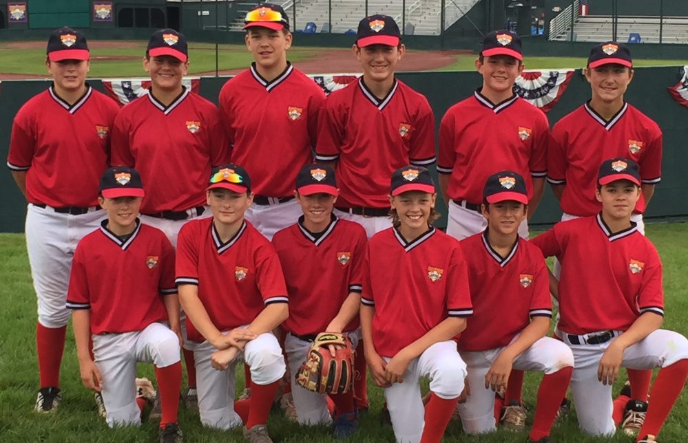 Members of the Maine Lightning 12U baseball team, from left to right: front row – Andrew Heffernan, Adam Nason, Johnny Poole, Jack Matthews, Mitchell Ham and Andrew Brewer; back – Nolan Hobbs, Ryan Kolben, Nic Frink, Brady Coyne, Gibby Sullivan and Ben Seguin.