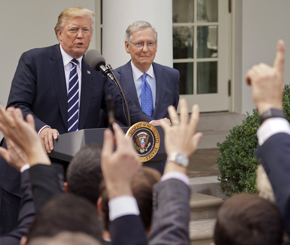 President Trump and Senate Majority Leader Mitch McConnell held a news conference at the White House Monday after Steve Bannon said he planned to target incumbent senators.