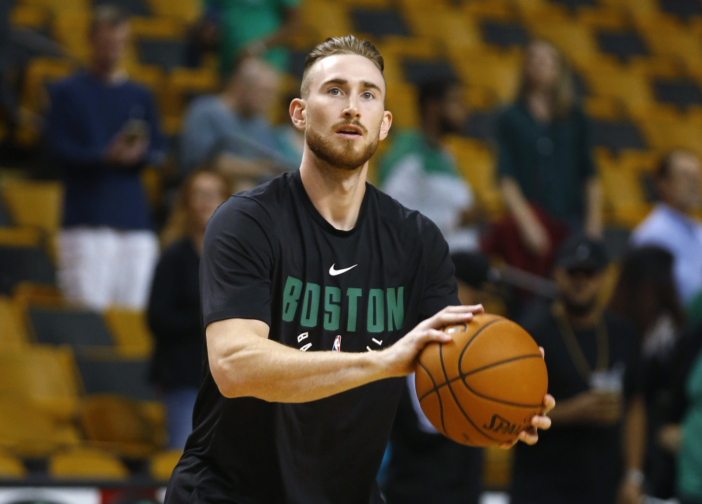 Forward Gordon Hayward broke his left ankle five minutes into his debut with the Celtics on Tuesday night.