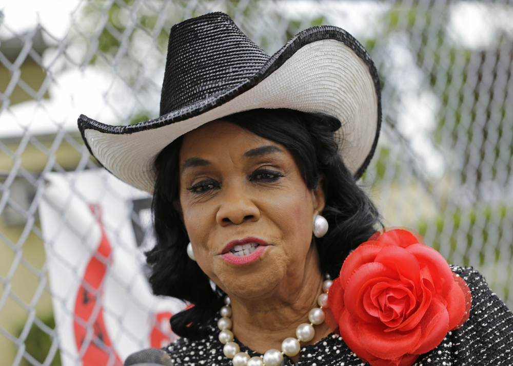 Democratic U.S. Rep. Frederica Wilson of Florida talks to reporters Wednesday in Miami Gardens, Fla.