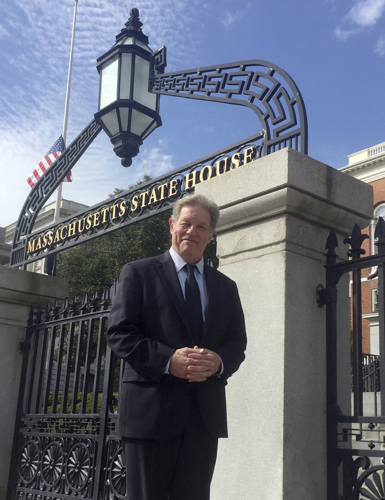 Comedian Jimmy Tingle stands outside the Statehouse in Boston. Tingle, a graduate of Harvard's Kennedy School of Government, will run for lieutenant governor in 2018.