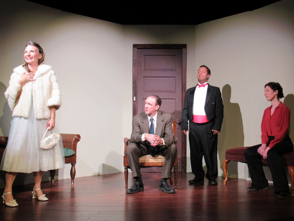 "Mary Fraser as Estelle, Josh Brassard as Cradeau, Danny Gay as Valet and Allison Kelly as Inez in ""No Exit,"" part of Pie Man Theatre's ""An Evening in Hell."""