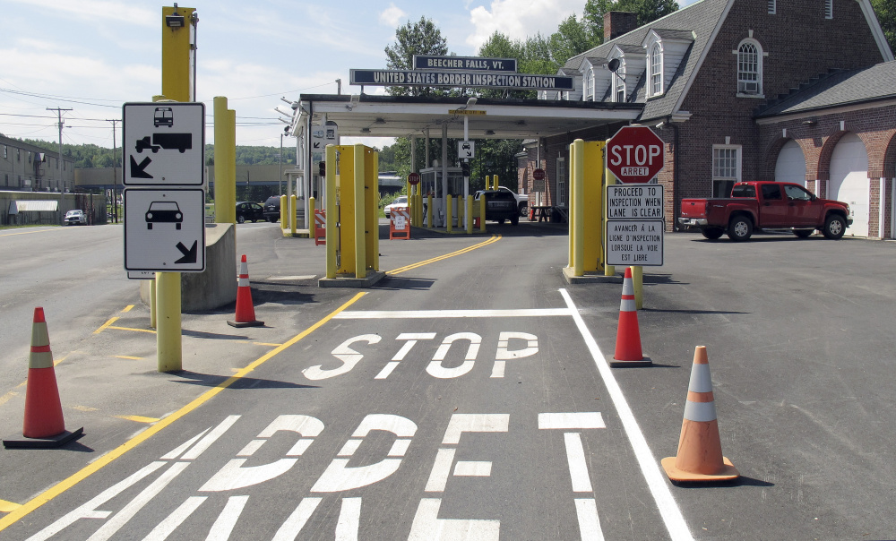 """The U.S. border crossing post at the border between Vermont and Quebec, at Beecher Falls, Vt. A reader takes our editorial board to task for writing that border agents are """"creeping inland."""""""