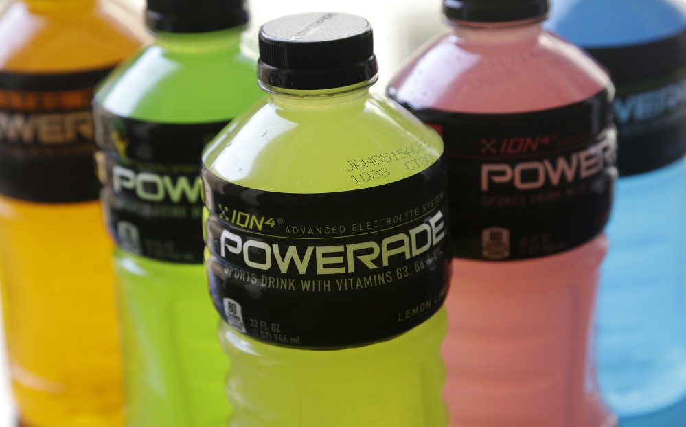 Flavors of Powerade, a Coca-Cola brand.