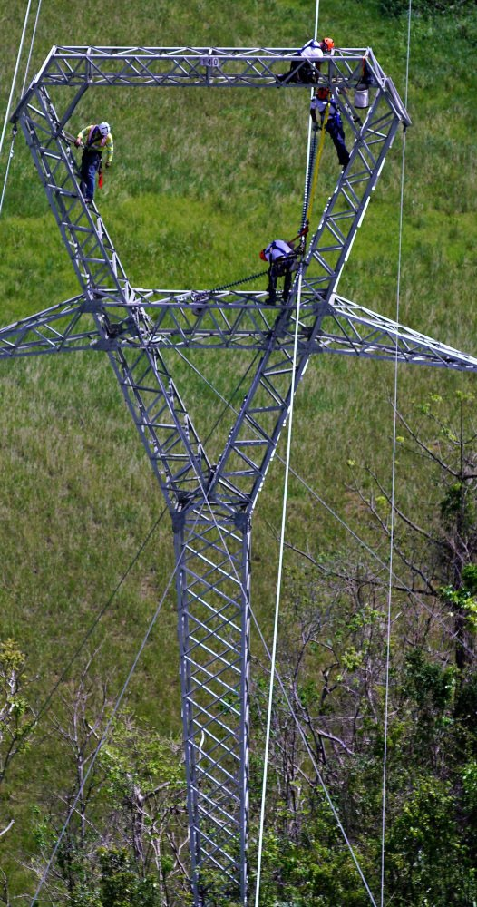 Whitefish Energy Holdings workers restore power lines earlier this month in Barceloneta, Puerto Rico. Associated Press/Ramon Espinosa