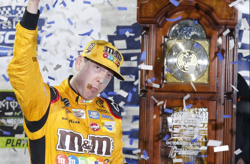 Kyle Busch celebrates after winning Sunday at Martinsville Speedway – his third victory in this year's first seven playoff races.